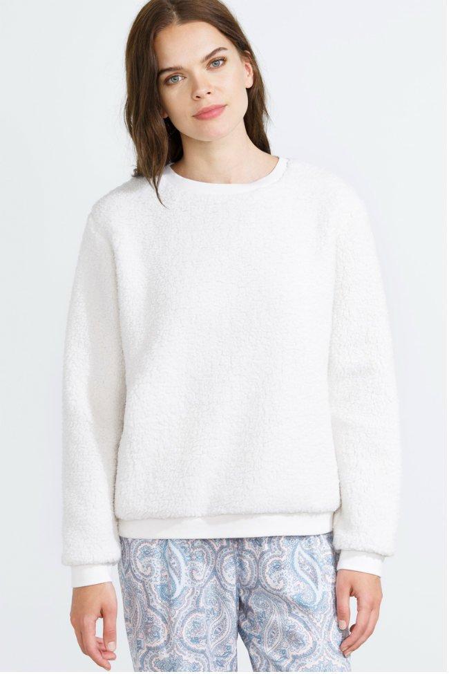 women secret crisp white otoño invierno 2015 lenceria pijama sudadera fluffy blanco
