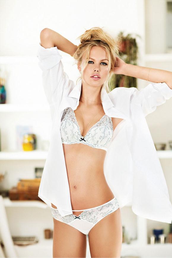 women secret crisp white otoño invierno 2015 lenceria sujetador rubia moda intima blanco