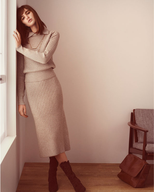 adolfo domínguez otoño invierno 2015 vestido conjunto tubo ajustado