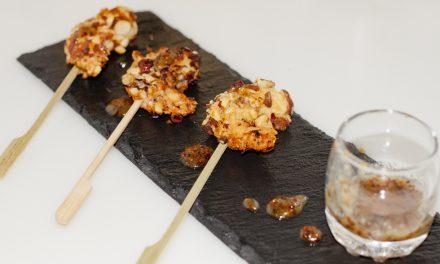 Langostinos en avellanas (con salsa de miel-mostaza)