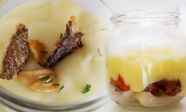 Bacalao con cuchara a la crema de patata